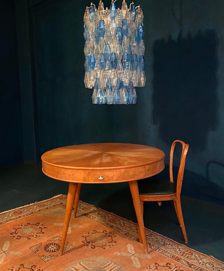 Mid-Century Modern Monumental Murano Glass Sapphire Colored Poliedri Chandelier For Sale