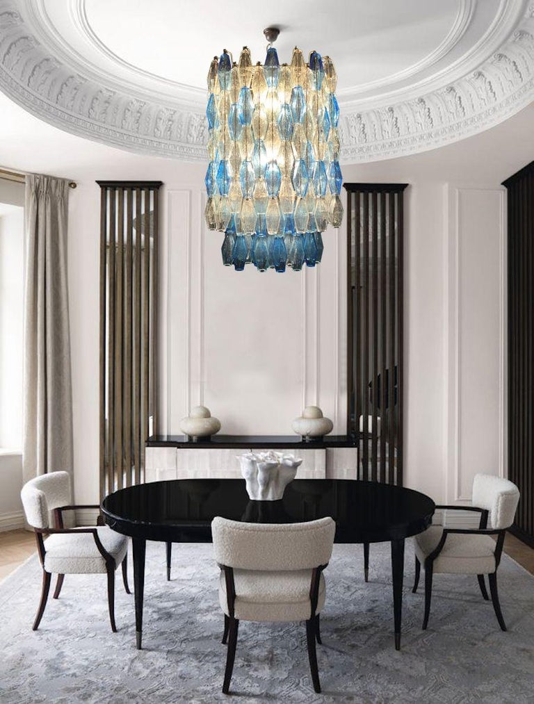 Painted Monumental Murano Glass Sapphire Colored Poliedri Chandelier For Sale