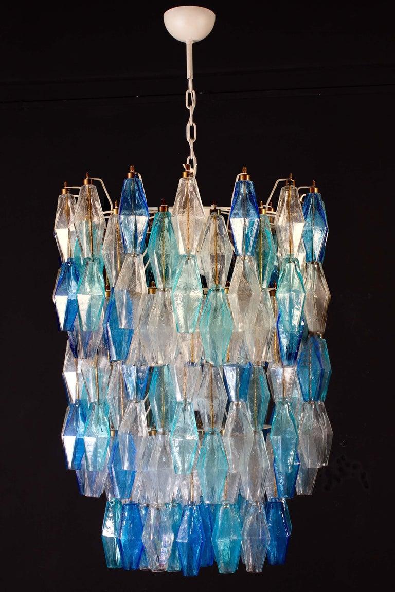 Monumental Murano Glass Sapphire Colored Poliedri Chandelier For Sale 1