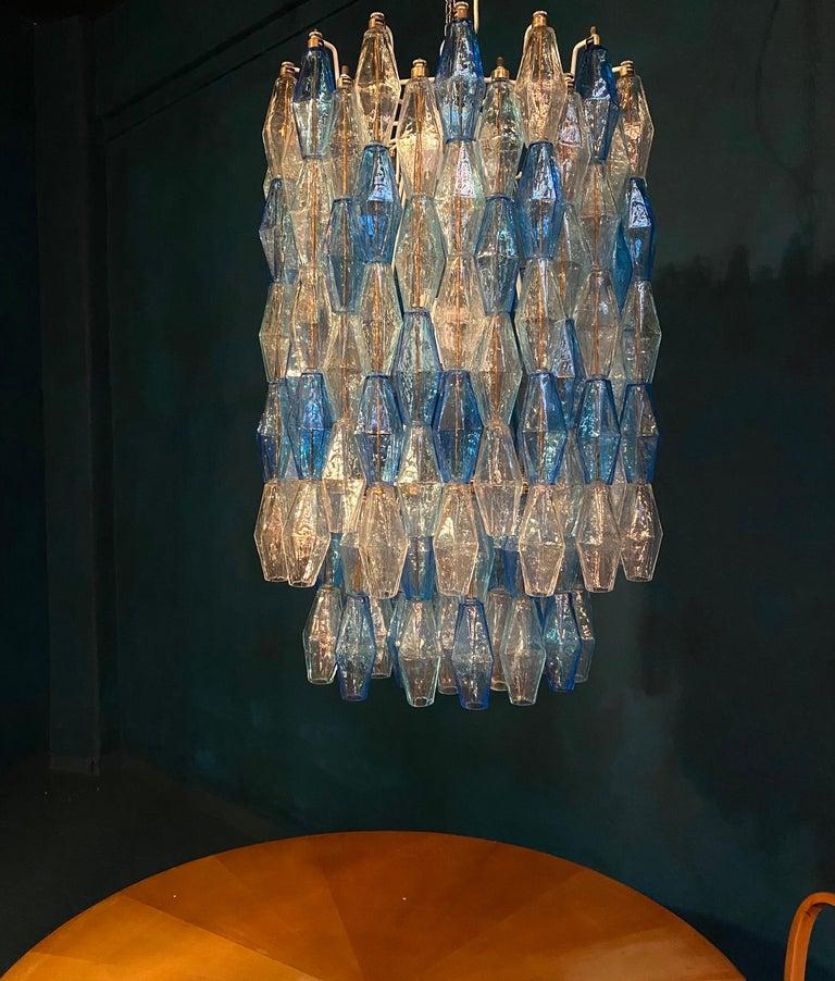 Monumental Murano Glass Sapphire Colored Poliedri Chandelier For Sale 2