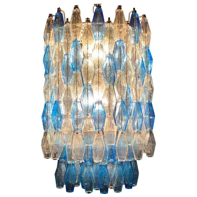 Monumental Murano Glass Sapphire Colored Poliedri Chandelier For Sale