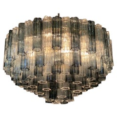 Monumental Murano Grey and Clear Glass Chandelier