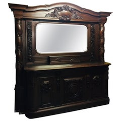 Monumental Neo Renaissance Sideboard Buffet with 2 Twisted Columns Oak Carved