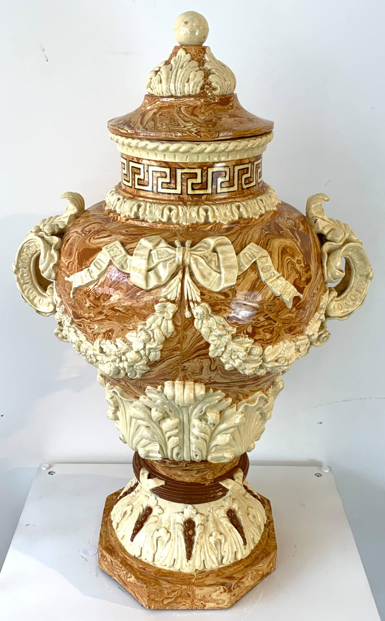 Monumental Neoclassical Aptware/Mixed Earth Lavabo Wine Urn For Sale 6