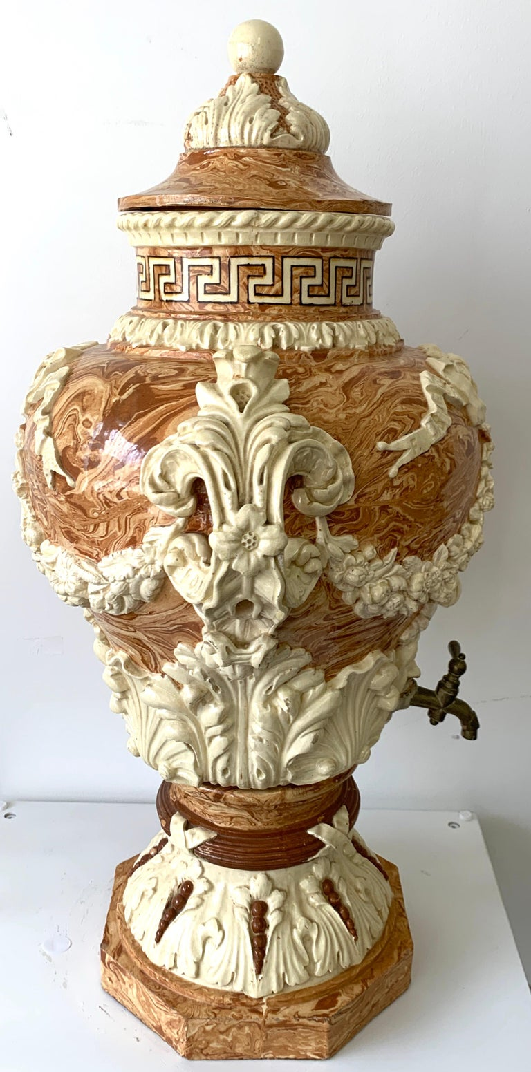 Monumental Neoclassical Aptware/Mixed Earth Lavabo Wine Urn For Sale 7