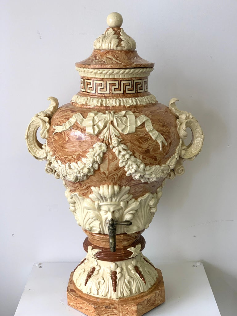 European Monumental Neoclassical Aptware/Mixed Earth Lavabo Wine Urn For Sale