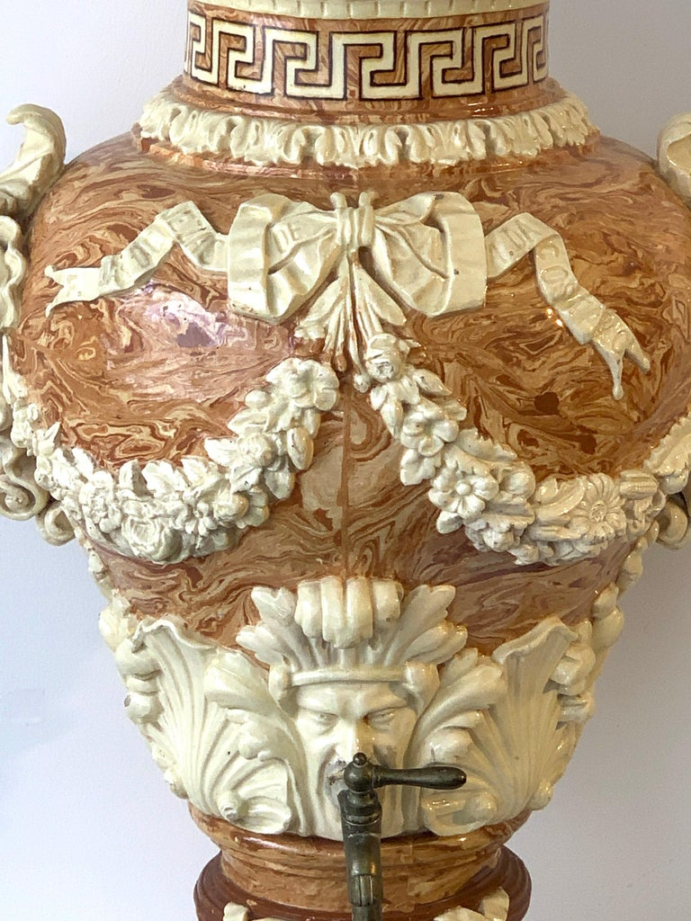 19th Century Monumental Neoclassical Aptware/Mixed Earth Lavabo Wine Urn For Sale