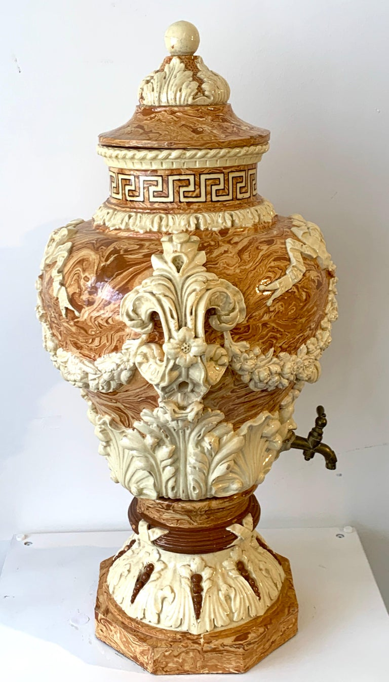 Monumental Neoclassical Aptware/Mixed Earth Lavabo Wine Urn For Sale 2