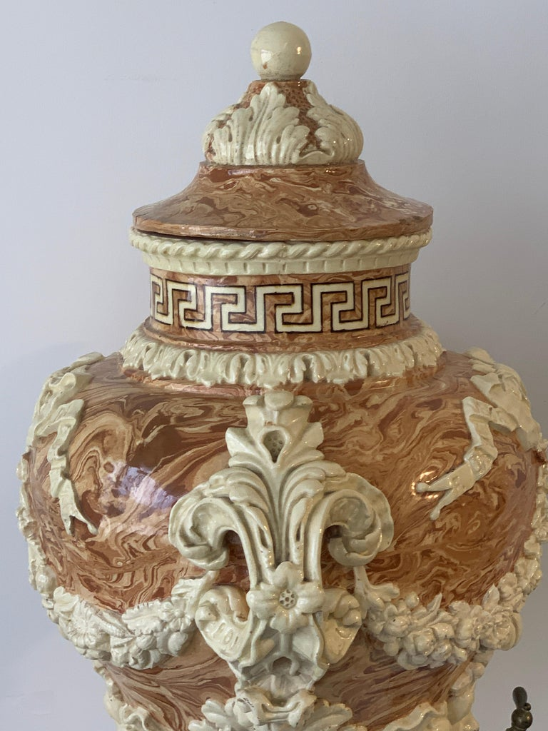 Monumental Neoclassical Aptware/Mixed Earth Lavabo Wine Urn For Sale 3