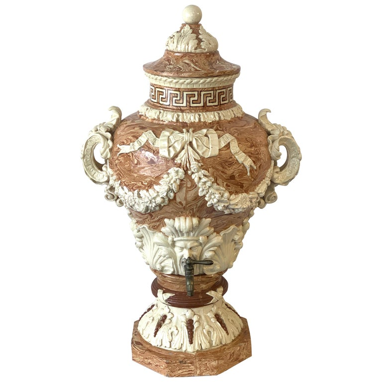 Monumental Neoclassical Aptware/Mixed Earth Lavabo Wine Urn For Sale