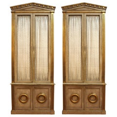 Monumental Neoclassical Revival Style Pedimented Wood Cabinets