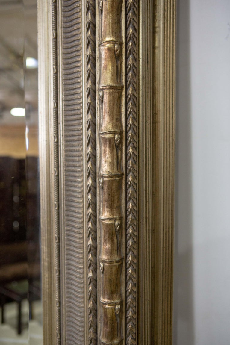 Burnished Monumental Neoclassical Style Metal Mirror For Sale