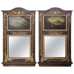 Monumental Neoclassical Wall Mirrors with Original Peter Edlund Oil Paintings