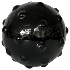 Monumental Obsidian Carved Mine Form Sphere Sculpture