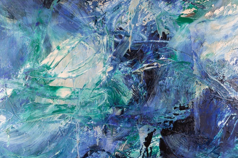Large scale abstract painting, oil on canvas, by French painter, Dominique Dehais, 1987. Vivid blues, greens, punctuated by blacks and creams comprise the color scheme. Listed artist. Canvas has been newly mounted on new stretcher.