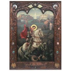Monumental Oil on Canvas Icon, St. George, Art Deco, Russian Order, Carved Frame