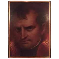 Monumental Oil on Canvas Portrait of Napoleon in Giltwood Frame Artist Dan Piel