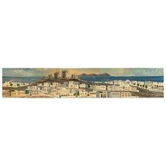 Monumental Oil Painting Mykonos Island Greece Signed By G.Tsitsilianos 1986