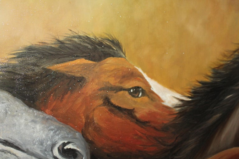 American Monumental Oil Painting of Horses For Sale