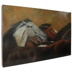 Monumentales Ölgemälde von Pferden