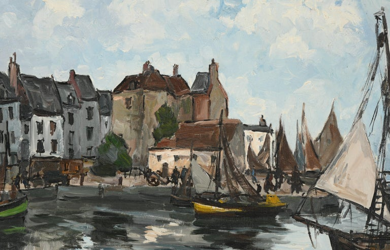This impressive monumental painting by Fernand Herbo is of a harbor scene in France. Fernand Herbo was a French painter (1905 - 1995). This beautiful painting is a great example of his larger works. This is a chance to collect great investment art.