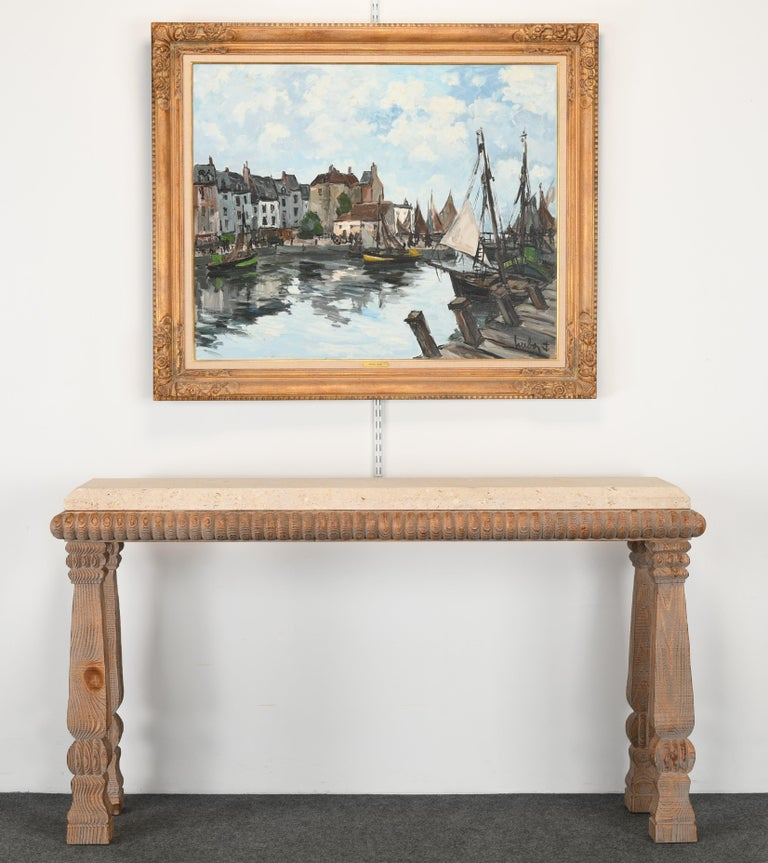 French Monumental Oil Painting on Canvas by Fernand Herbo, 20th Century For Sale