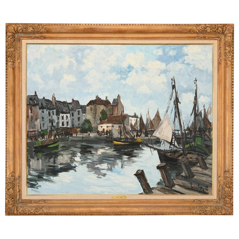 Monumental Oil Painting on Canvas by Fernand Herbo, 20th Century For Sale
