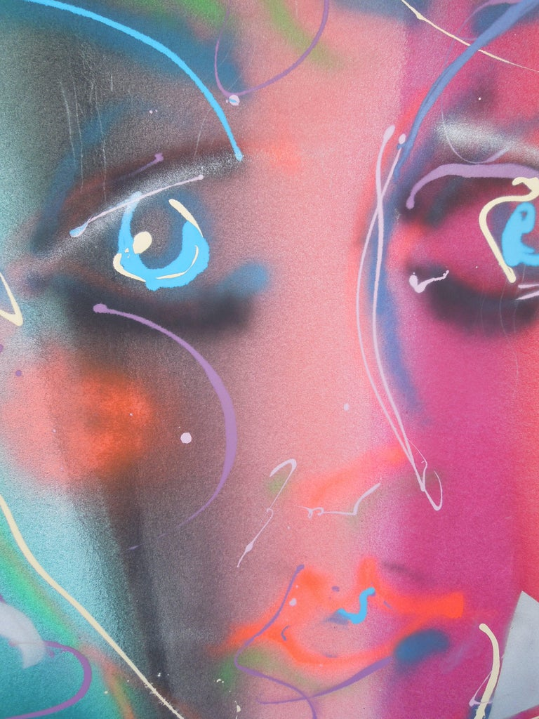American Monumental Original Painting 1980s Glam Face by Greg Copeland For Sale