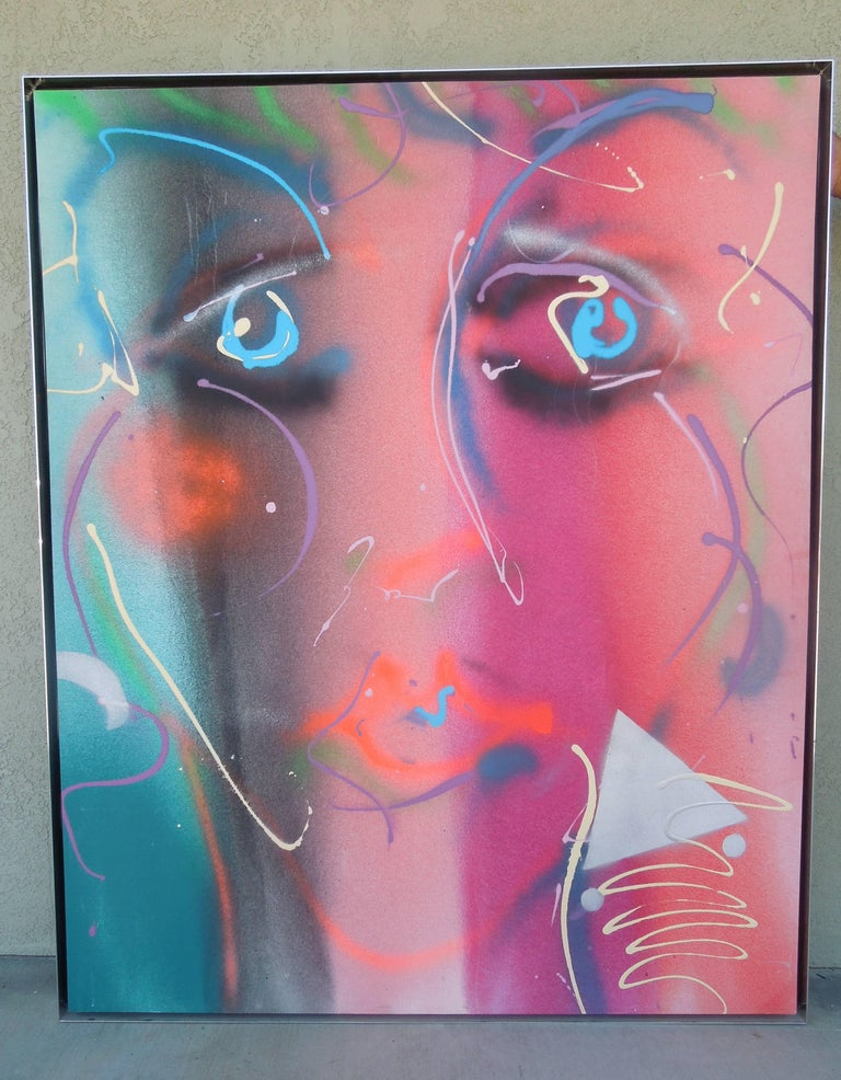 Monumental Original Painting 1980s Glam Face by Greg Copeland In Good Condition For Sale In Palm Springs, CA
