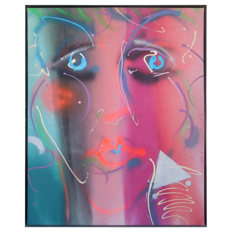 Monumental Original Painting 1980s Glam Face by Greg Copeland For Sale