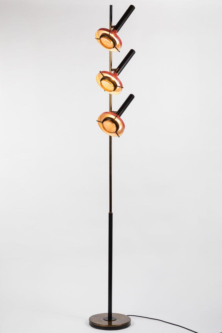 Italian Monumental Oscar Torlasco 3-Cone Floor Lamp for Lumi, circa 1958 For Sale