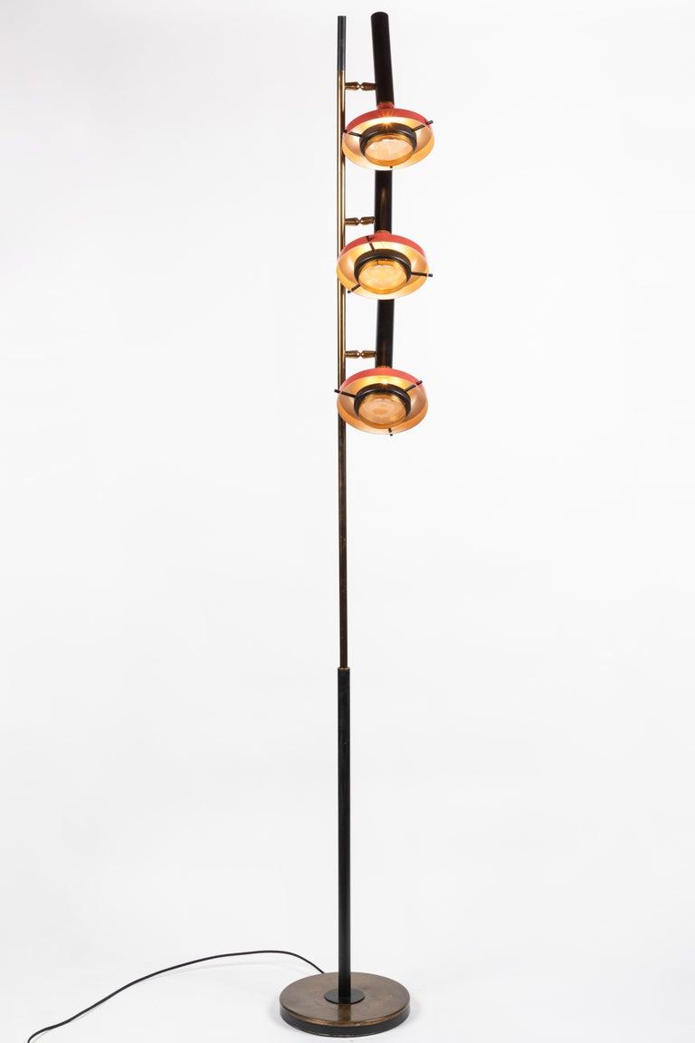 Painted Monumental Oscar Torlasco 3-Cone Floor Lamp for Lumi, circa 1958 For Sale