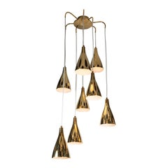 Monumental Paavo Tynell Model 1994/8 Perforated Brass Chandelier
