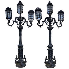 Monumental Pair of Cast Iron Italian Victorian Genuine Street Lamps, circa 1910