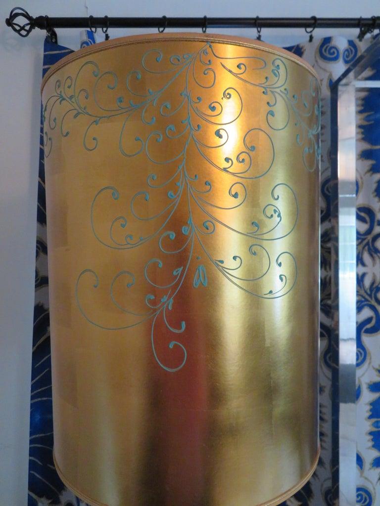 Monumental Pair of Gold Leaf Gourd Shaped Hollywood Regency Modern Lamps For Sale 5