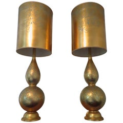 Monumental Pair of Gold Leaf Gourd Shaped Hollywood Regency Modern Lamps