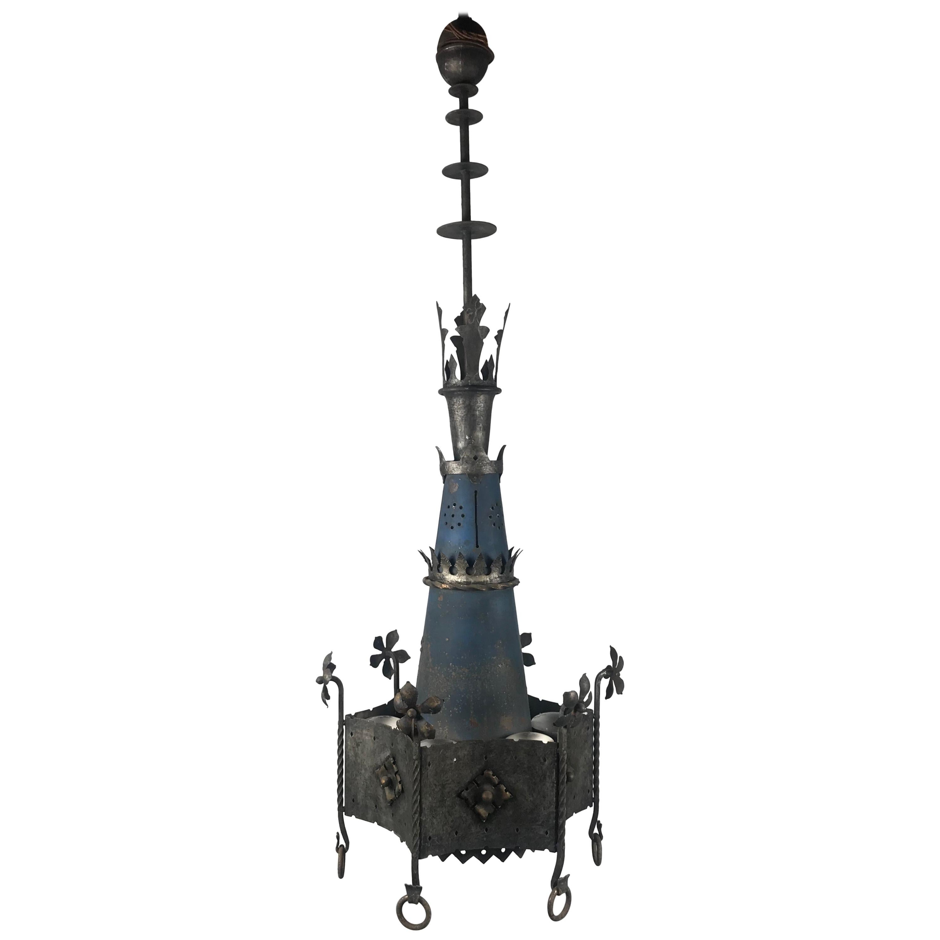 Monumental Pair of Gothic Revival Hanging Chandelier Light Fixtures / Church