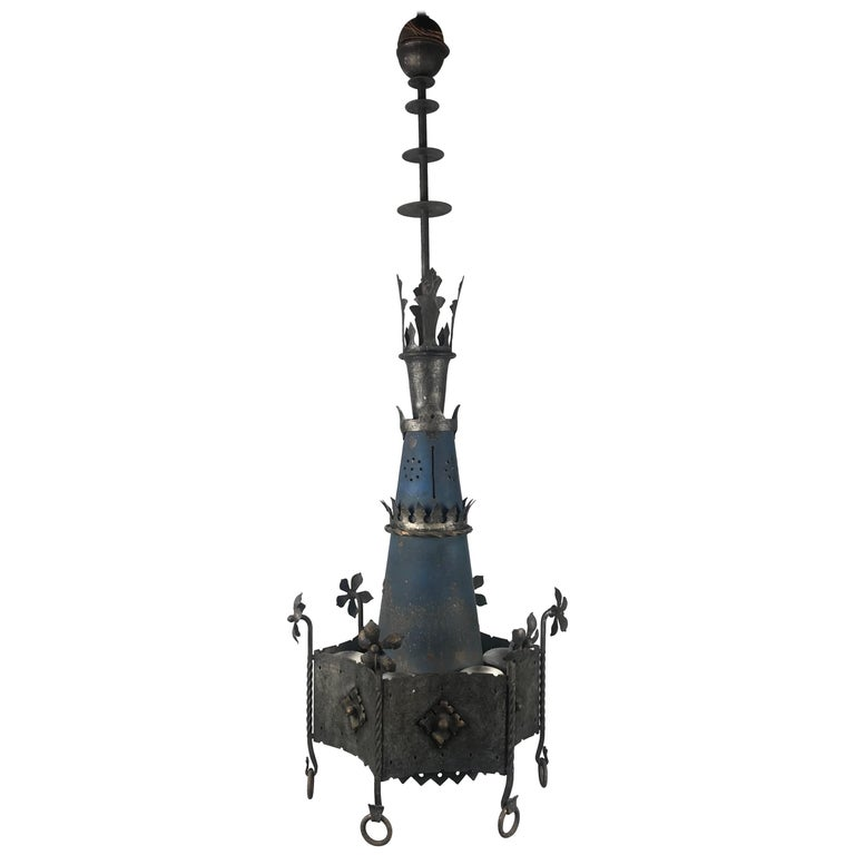 Pair Of Simple Church Lights For Sale: Monumental Pair Of Gothic Revival Hanging Chandelier Light