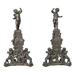 Monumental Pair Italian Bronze Cherub Satyrs Jenny Lind Figure Andirion, C1900