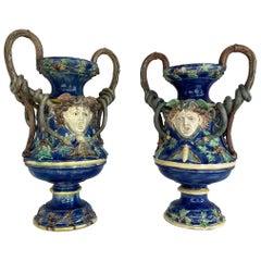 Monumental Pair Majolica Palissy Blue Medusa Vases, Snakes, School of Paris 1870