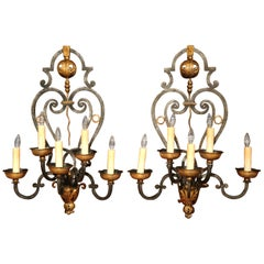 Monumental Pair of 19th Century French Louis XV Forged Iron Five-Light Sconces
