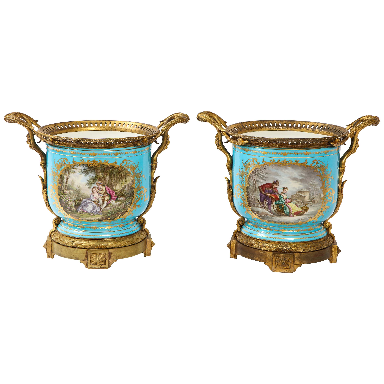 Monumental Pair of 19th Century French Sèvres Celeste Blue Porcelain Cachepots