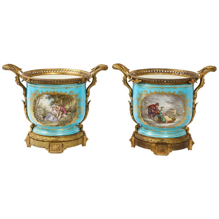 Monumental Pair of 19th Century French Sèvres Celeste Blue Porcelain Cachepots For Sale