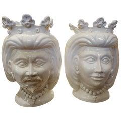 Monumental Pair of 20th Century of Italian Glazed Terracotta Bust Jardinières