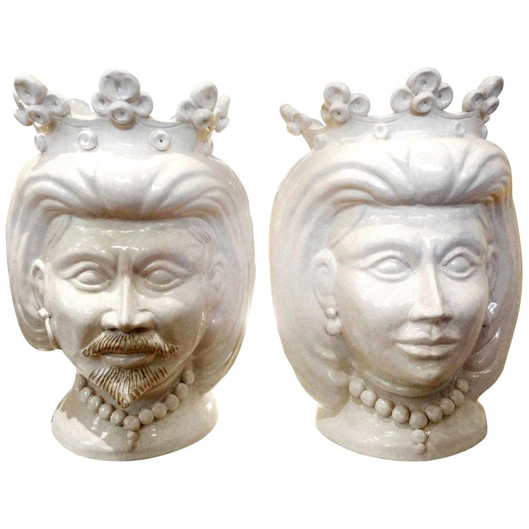 Monumental Pair of 20th Century of Italian Glazed Terracotta Bust Jardinières For Sale