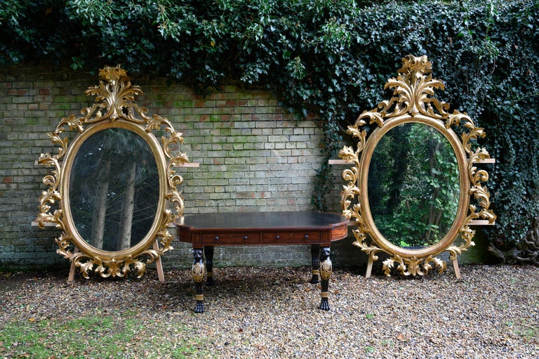 Monumental Pair of 19th Century Oval Florentine Carved Giltwood Mirrors For Sale 6