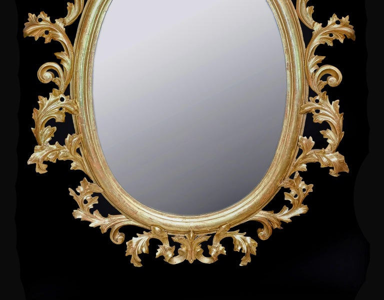 Monumental Pair of 19th Century Oval Florentine Carved Giltwood Mirrors For Sale 1