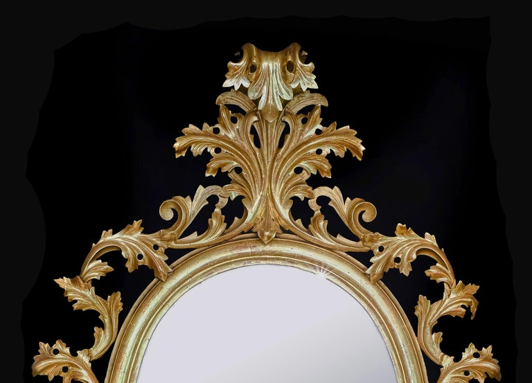 Monumental Pair of 19th Century Oval Florentine Carved Giltwood Mirrors For Sale 2