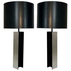 Monumental Pair of Aluminum I Beam Lamps by Laurel Lamp Company Original Shades