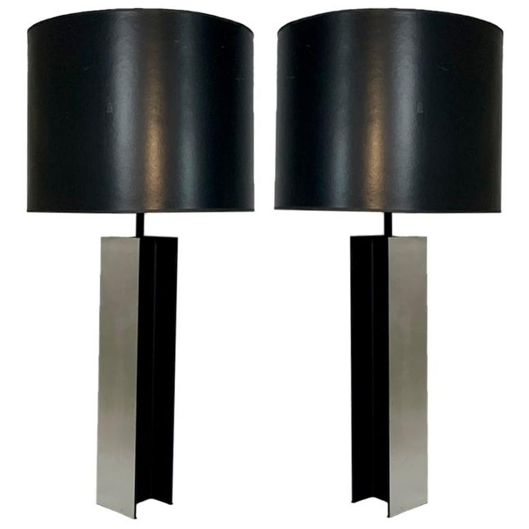Monumental Pair of Aluminum I Beam Lamps by Laurel Lamp Company Original Shades For Sale